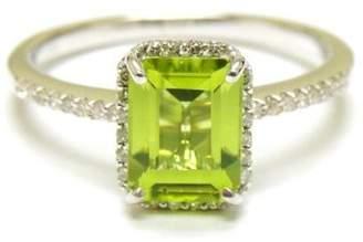 14K White Gold Gem Peridot And Diamonds Fashion Ring