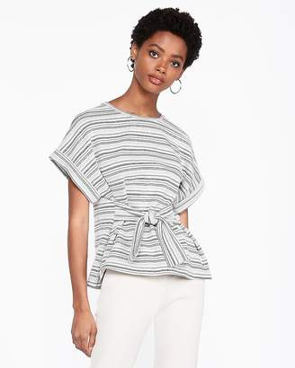 Express Striped Tie Waist Rolled Sleeve Blouse