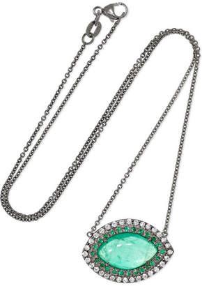 Kimberly McDonald - 18-karat Blackened White Gold, Emerald And Diamond Necklace