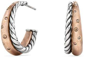 David Yurman Pure Form Mixed Metal Hoop Earrings with Diamonds, Bronze & Silver, 26.5mm