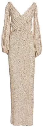 Jenny Packham Gathered Sequin Cold-Shoulder V-Neck Gown