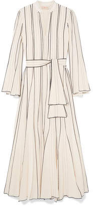 Tory Burch Pleated Embroidered Silk-crepe Gown - Ivory