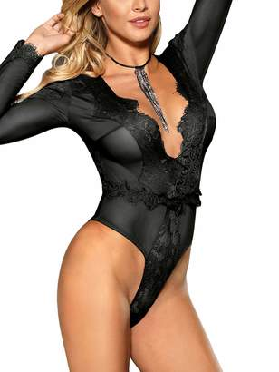 Viorsun Women s Sexy Sheer Lace Lingerie Long Sleeve Deep V One Piece Teddy  Bodysuit(5X 49387d7f5