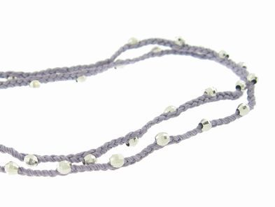 Catherine Michiels Lavender Cord with Faceted Silver Beads