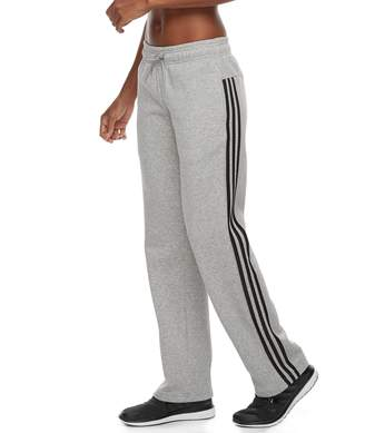 adidas Women's Essential Fleece 3 Stripe Open Hem Pants