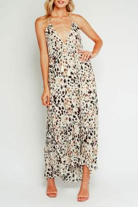 Olivaceous Leopard Halter Maxi-Dress