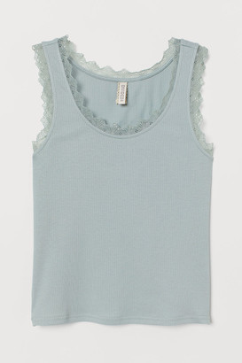H&M Ribbed Tank Top with Lace - Turquoise