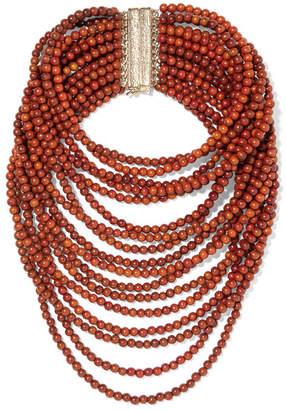 Rosantica Arizona Gold-tone Beaded Necklace - Brown