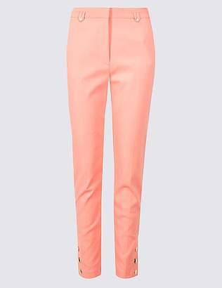 Per Una Cotton Blend Snap Hem Straight Leg Trousers