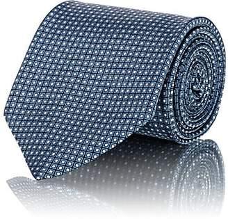 Brioni Men's Mini-Square-Grid Silk Satin Necktie - Blue