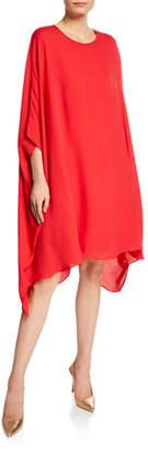 St. John Scoop-Neck 3/4-Sleeve Draped Silk Georgette Dress
