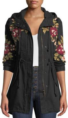 Johnny Was Mehdi Hooded Drawstring-Waist Embroidered Coat, Petite