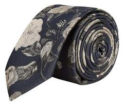 Burton Mens Navy and Green Floral Tie