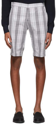 Thom Browne White and Black Pow Shadow Check Unconstructed Shorts