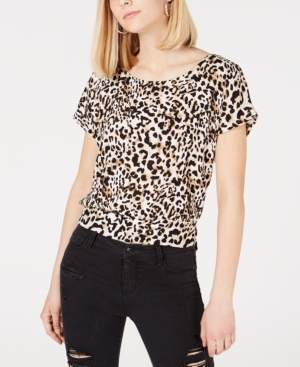 BCX Juniors' Animal-Print Tie-Back Top