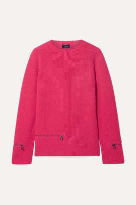 Akris Zip-detailed Ribbed Cashmere Sweater