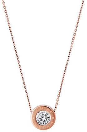 MICHAEL Michael Kors Michael Kors Brilliance Logo Pendant Necklace/Rose Goldtone