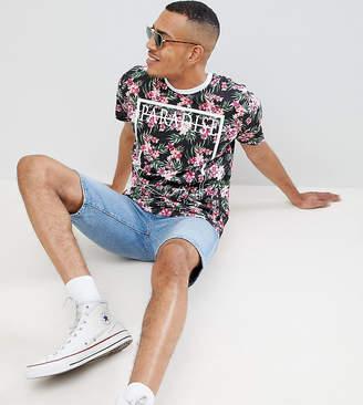Jacamo TALL T-Shirt In Paradise Floral Block Print