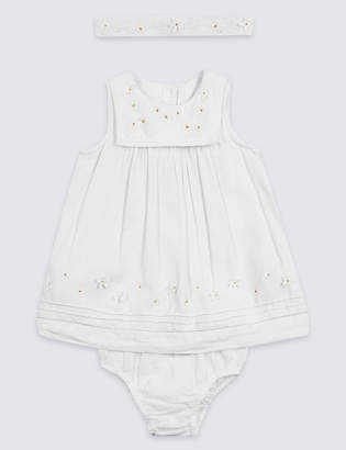 Marks and Spencer 3 Piece Headband, Knicker & Embroidered Dress