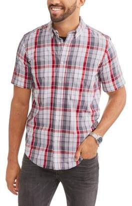 George Big and Tall Men's Short Sleeve Plaid Woven Shirt
