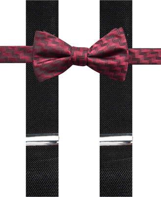 Alfani Men's Errol Chevron Stripe Bow Tie & Suspenders Set