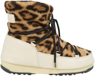 Yves Salomon Leopard Shearling Moon Boots