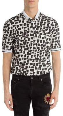 Dolce & Gabbana Monochrome Print Cotton Polo Shirt