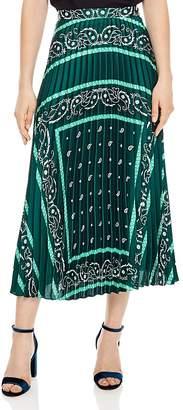 Sandro Mercedes Bandana-Print Midi Skirt