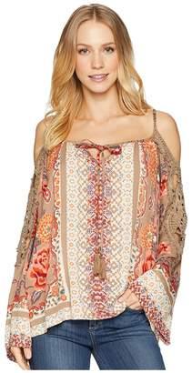 Angie Long Sleeve Print Crochet Trim Top Women's Clothing