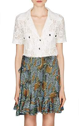 Chloé Women's Cotton-Blend Lace Short-Sleeve Blouse