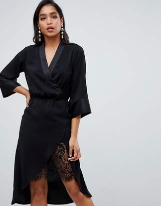 Vila Tie Waist Lace Detail Dress