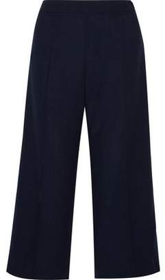 Mother of Pearl Leanna Satin-Trimmed Wool-Cady Wide-Leg Pants