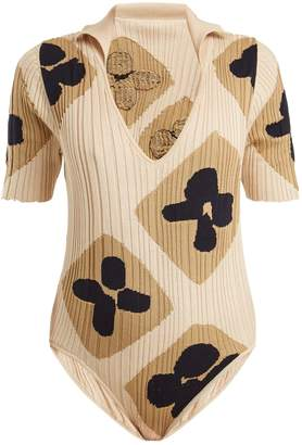 V-neck jacquard ribbed-knit cotton body