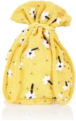 Ganni Yellow Hand-Beaded Pouch