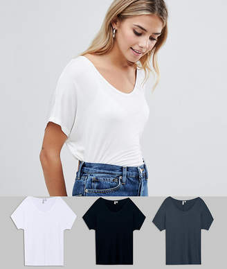 Asos Design T-Shirt With Drapey Batwing Sleeve 3 Pack