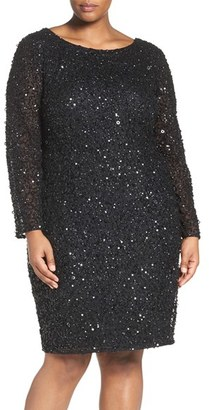 Plus Size Women's Adrianna Papell Embellished Scoop Back Cocktail Dress $259 thestylecure.com