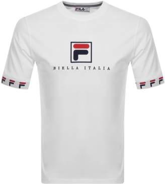 Fila Vintage Rosso Logo Crew Neck T Shirt White