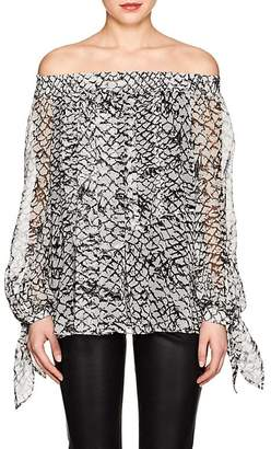 Derek Lam WOMEN'S SCALE-PRINT SILK OFF-THE-SHOULDER BLOUSE