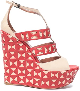 Alaia Laser-cut Leather Wedge Sandals