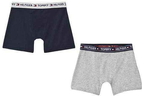 2 Pack of Grey and Navy Branded Boxer Briefs