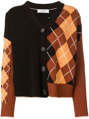Pringle argyle panel cardigan