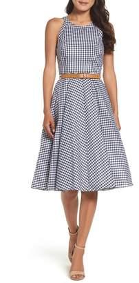 Eliza J Belted Fit & Flare Dress
