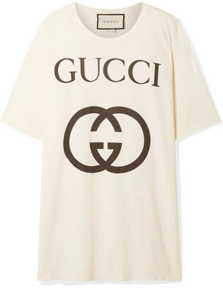 Gucci Printed Cotton-jersey T-shirt - Ivory