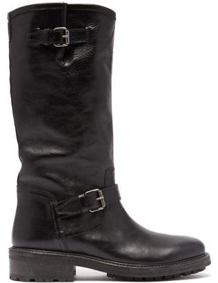 Saint Laurent Palm Buckled Leather Boots - Womens - Black