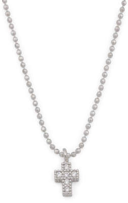 Made In Italy Sterling Silver Pave Cz Dainty Cross Necklace