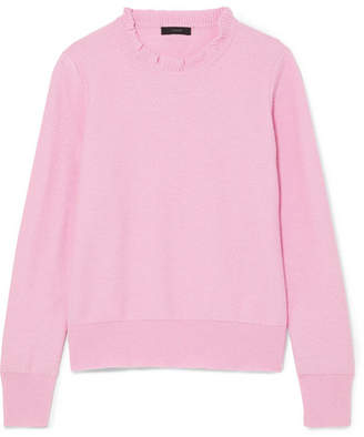 J.Crew Ruffle-trimmed Cotton-blend Sweater - Pink