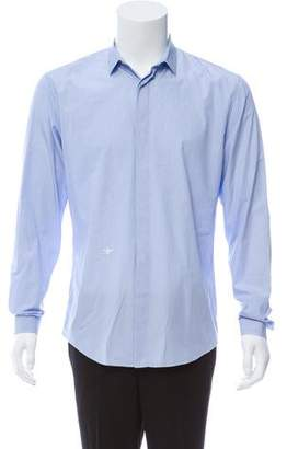 Christian Dior Bee-Embroidered Striped Button-Up Shirt