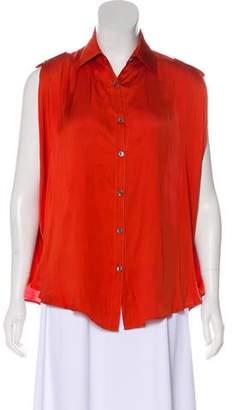 Adam Sleeveless Button-Up Blouse