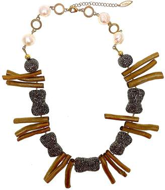 Farra - Natural Freshwater Pearls & Golden Coral Statement Necklace