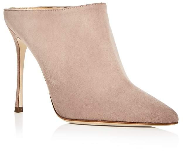 Sergio Rossi Women's Godiva Suede High Heel Pointed Toe Mules